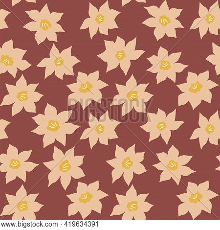 Seamless Pattern With Narcissus Flowers. Vector Illustration Hand Drawn. Botanical Plant Daffodils B