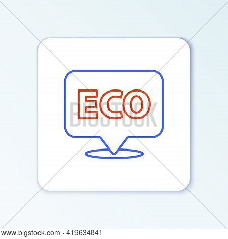 Line Banner, Label, Tag, Logo For Eco Green Healthy Food Icon Isolated On White Background. Organic