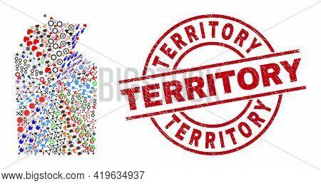 Australian Northern Territory Map Mosaic And Textured Territory Red Round Badge. Territory Badge Use