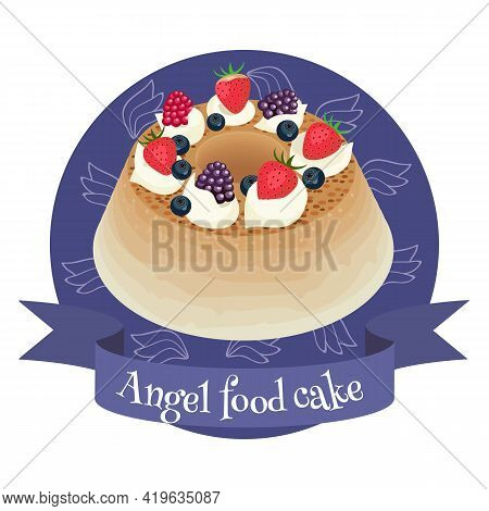American Dessert Angel Food Cake. Colorful Cartoon Style Illustration For Cafe, Bakery, Restaurant M