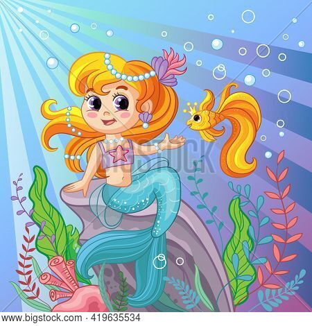 Background With An Underwater World In A Childrens Style. A Mermaid Is Sitting On A Rock And Golden