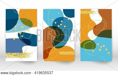 Abstract Cover Template. Watercolor Painting Texture Brochure Design. Minimalist Hand Painted Shapes