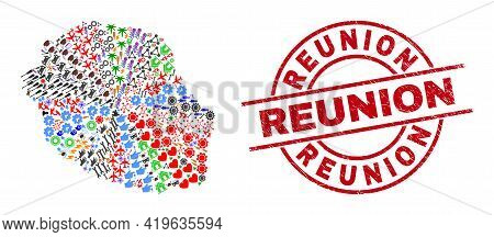 Reunion Island Map Collage And Dirty Reunion Red Round Stamp Seal. Reunion Stamp Uses Vector Lines A