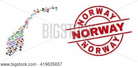 Norway Map Mosaic And Scratched Norway Red Circle Seal. Norway Badge Uses Vector Lines And Arcs. Nor