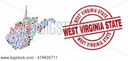West Virginia State Map Collage And Scratched West Virginia State Red Round Stamp Print. West Virgin