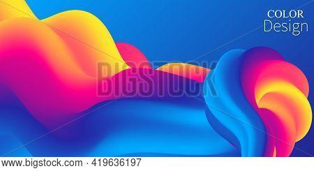 Colorful Gradient. 3d Fluid Wave. Vibrant Color. Liquid Background.