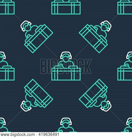 Line Dj Wearing Headphones In Front Of Record Decks Icon Isolated Seamless Pattern On Black Backgrou