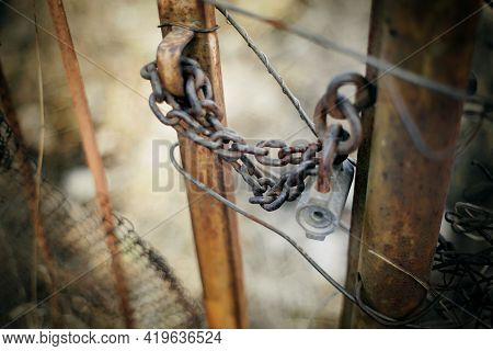 A Metal Gate Closed On The Lock On A Rusty Chain. A Gate Closed On The Lock.