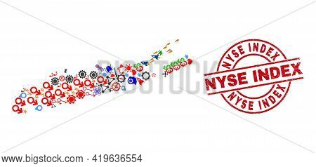 Long Island Map Collage And Grunge Nyse Index Red Circle Stamp. Nyse Index Stamp Uses Vector Lines A