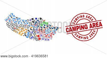 Madeira Map Collage And Scratched Camping Area Red Round Stamp Seal. Camping Area Seal Uses Vector L