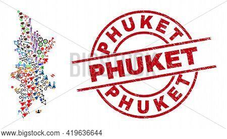 Phuket Map Mosaic And Rubber Phuket Red Circle Seal. Phuket Seal Uses Vector Lines And Arcs. Phuket
