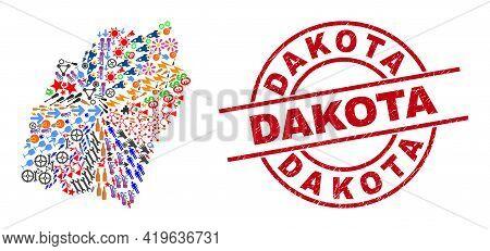 Manipur State Map Collage And Grunge Dakota Red Circle Stamp. Dakota Stamp Uses Vector Lines And Arc