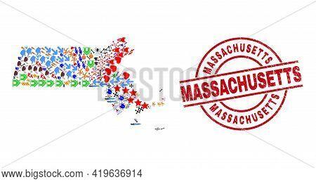 Massachusetts State Map Mosaic And Textured Massachusetts Red Round Stamp Imitation. Massachusetts B