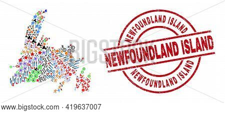 Newfoundland Island Map Mosaic And Scratched Newfoundland Island Red Circle Stamp Seal. Newfoundland