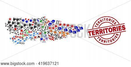 Asturias Province Map Collage And Distress Territories Red Circle Stamp Imitation. Territories Stamp