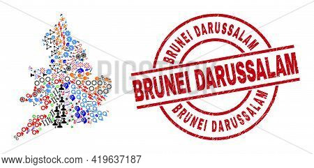 England Map Mosaic And Distress Brunei Darussalam Red Circle Stamp Imitation. Brunei Darussalam Stam