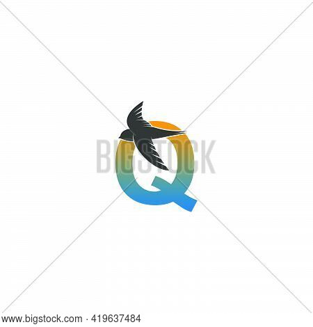Letter Q Logo With Swift Bird Icon Design Vector Template