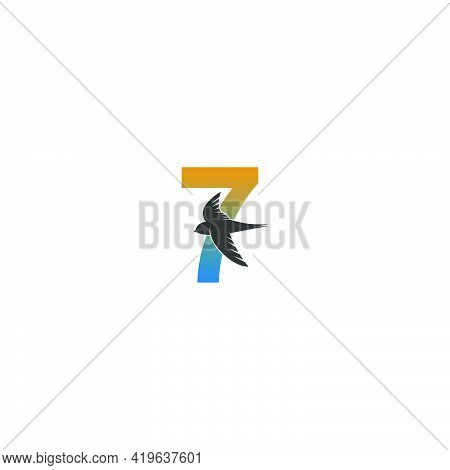 Number 7 Logo With Swift Bird Icon Design Vector Template