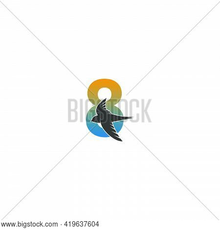 Number 8 Logo With Swift Bird Icon Design Vector Template
