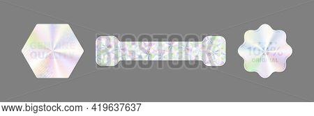 Product Certification Symbol. Hologram Sticker Set. Vector.