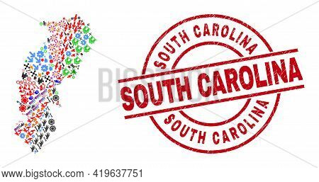Chhattisgarh State Map Collage And South Carolina Red Circle Stamp. South Carolina Stamp Uses Vector