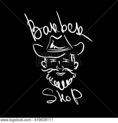 Man With Beard And Mustache With Cowboy Hat Logo For Barbershop. Simple Linear Sketch Of A Hipster,