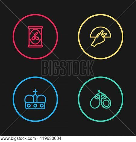 Set Line Crown Of Spain, Castanets, Fan Flamenco And Olives Can Icon. Vector