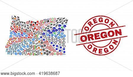 Oregon State Map Mosaic And Unclean Oregon Red Round Badge. Oregon Badge Uses Vector Lines And Arcs.