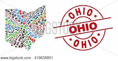 Ohio State Map Mosaic And Dirty Ohio Red Round Seal. Ohio Seal Uses Vector Lines And Arcs. Ohio Stat
