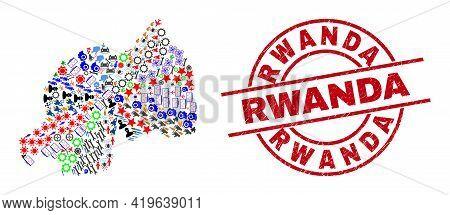Rwanda Map Collage And Scratched Rwanda Red Round Stamp. Rwanda Stamp Uses Vector Lines And Arcs. Rw