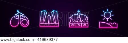 Set Line Castanets, Gate Of Europe, Crown Spain And Beach. Glowing Neon Icon. Vector