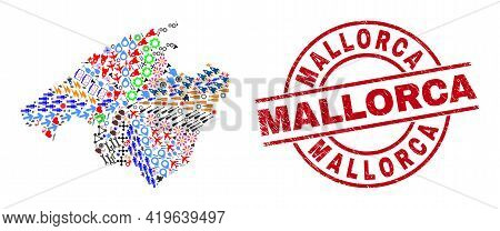 Mallorca Map Mosaic And Unclean Mallorca Red Round Stamp Print. Mallorca Stamp Uses Vector Lines And