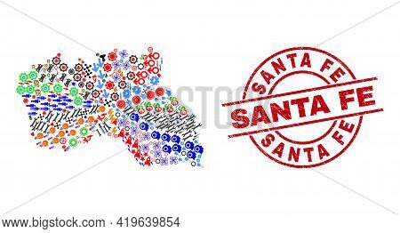 Santa Maria Island Map Collage And Scratched Santa Fe Red Round Stamp. Santa Fe Badge Uses Vector Li