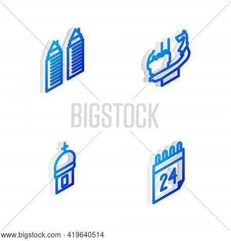 Set Isometric Line Monument To Founders Of Kiev, Two Towers In Dnipro, Church And Independence Day U
