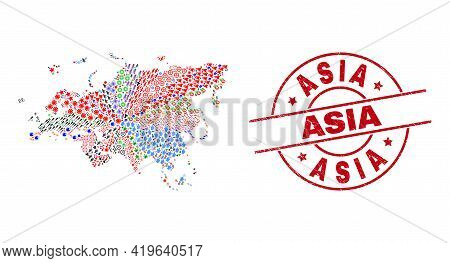 Europe And Asia Map Mosaic And Distress Asia Red Round Seal. Asia Seal Uses Vector Lines And Arcs. E