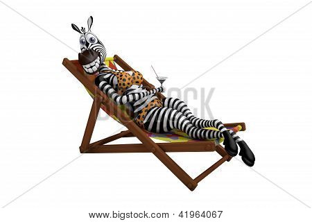 Zebra lies on a deck-chair and drinks a martini poster