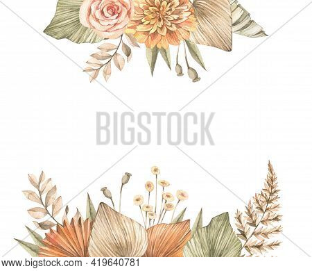Watercolor Floral Frame With Dry Tropical Leaves, Flowers And Pampas. Dried Tropics. Botanical Card.