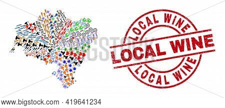 Lower Silesia Province Map Collage And Rubber Local Wine Red Circle Stamp Seal. Local Wine Stamp Use