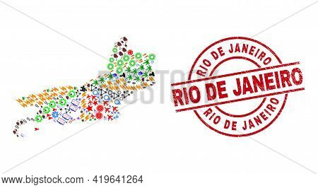 Rio De Janeiro State Map Collage And Dirty Rio De Janeiro Red Circle Stamp Imitation. Rio De Janeiro