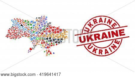 Ukraine Map Collage And Distress Ukraine Red Round Stamp Imitation. Ukraine Stamp Uses Vector Lines