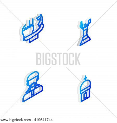 Set Isometric Line Mother Motherland Monument, Monument To Founders Of Kiev, Ukrainian Cossack And C