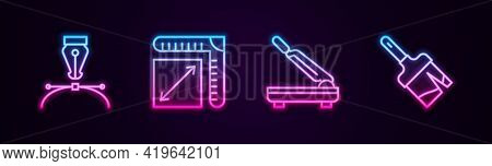 Set Line Fountain Pen Nib, Paper Size, Cutter And Paint Brush. Glowing Neon Icon. Vector