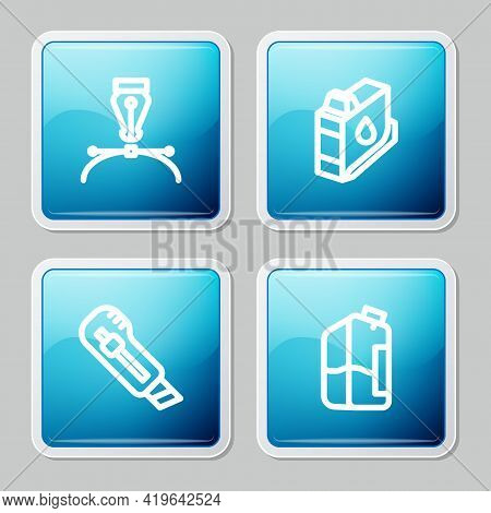 Set Line Fountain Pen Nib, Printer Ink Cartridge, Stationery Knife And Bottle Icon. Vector