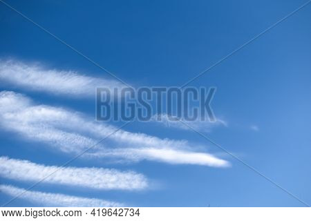 Blue Sky With Cirrus And Cumulus White Clouds