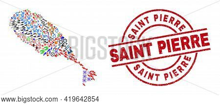St Kitts Island Map Collage And Distress Saint Pierre Red Round Stamp. Saint Pierre Stamp Uses Vecto