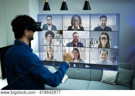 Online Video Conference Webinar Call Using Vr Headset