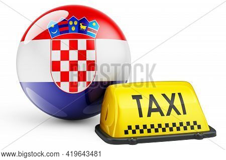 Taxi Service In Croatia Concept. Yellow Taxi Car Signboard With Croatian Flag, 3d Rendering Isolated