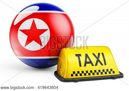 Taxi Service In North Korea Concept. Yellow Taxi Car Signboard With North Korean Flag, 3d Rendering