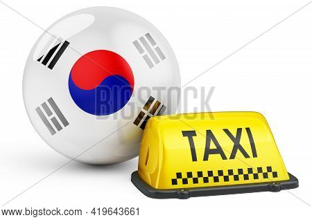 Taxi Service In South Korea Concept. Yellow Taxi Car Signboard With South Korean Flag, 3d Rendering