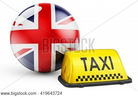 Taxi Service In The Great Britain Concept. Yellow Taxi Car Signboard With British Flag, 3d Rendering
